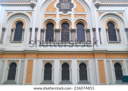 Detail of the facade of Spanish Synagogue in the old Jewish Quarter (Josefov), Prague , Czech Republic - stock photo