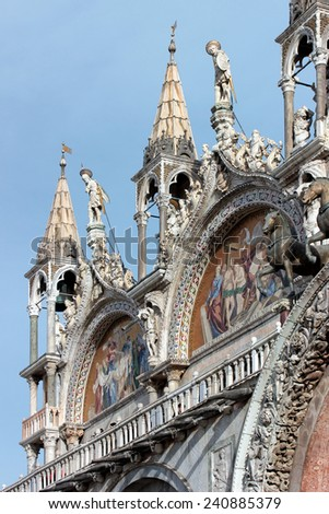 Detail of the facade of St. Mark's church in Venice - stock photo