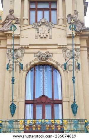 Detail of the facade of the Prague Municipal House in overcast day, Czech Republic - stock photo