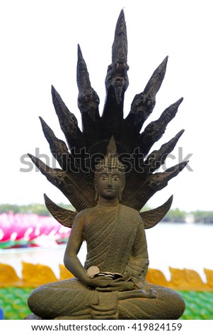 Detail of the face from buddha   - stock photo