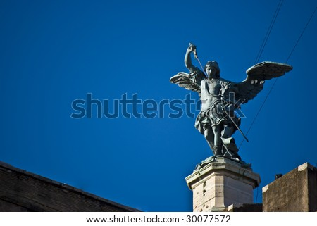 detail of the famous Castel Sant Angelo in Rome