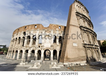 Detail of the famous Colosseum or Coliseum, also known as the Flavian Amphitheatre.  - stock photo