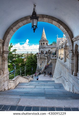 Detail of the famous Fishermen's bastion in Budapest, Hungary  - stock photo