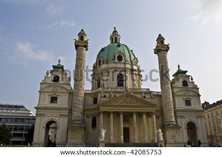 detail of the famous Karlskirche in Vienna - stock photo