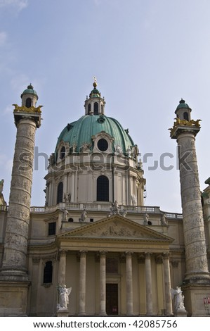 detail of the famous Karlskirche in Vienna