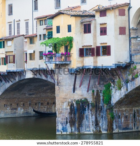 Detail of the famous landmark Ponte Vecchio in Florence, Italy - stock photo