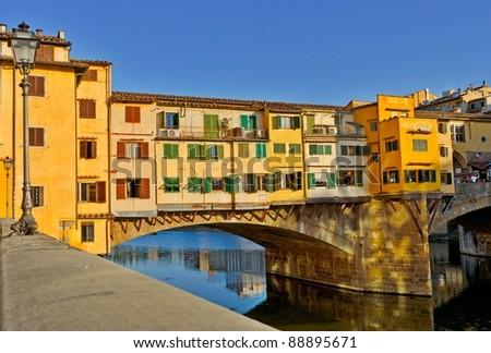 Detail of the famous Ponte Vecchio Bridge, Italy - stock photo