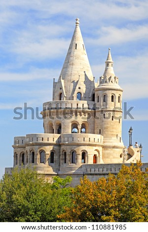 detail of the Fisherman's Bastion in Budapest - stock photo