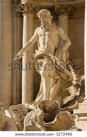 Detail of the Fontana di Trevi in Rome, Italy
