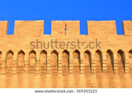 Detail of the fortified walls of the medieval town of Avignon, Provence, France - stock photo