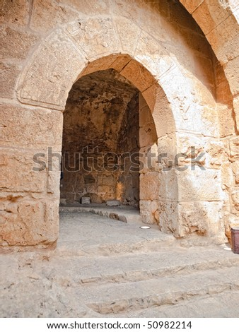 Detail of the fortress, Ajloun, Jordan. Arab and crusaders fort.