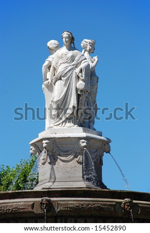 Detail of the fountain on the Cours Mirabeau in the city of Aix en provence in the south of France