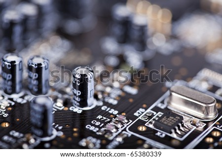 Detail of the front of a printed circuit board - stock photo