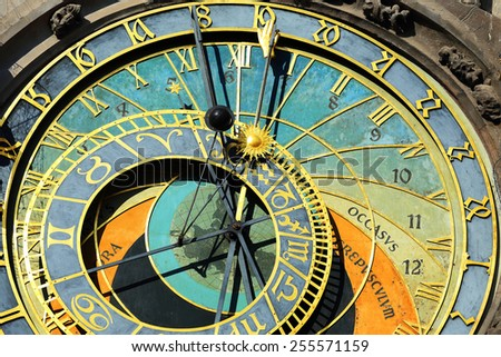 Detail of the historical medieval astronomical Clock in Prague on Old Town Hall , Czech Republic - stock photo