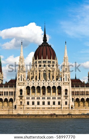 Detail of the Hungarian Parliament in Budapest at the river Danube - stock photo