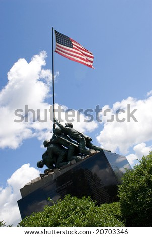 Detail of the Iwo Jima Memorial Statue located in New Britain, Connecticut. - stock photo