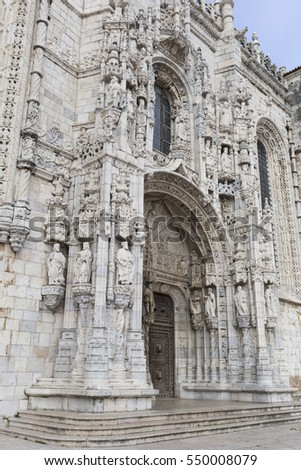 detail  of the jeronimos monastery in lisbon, portugal