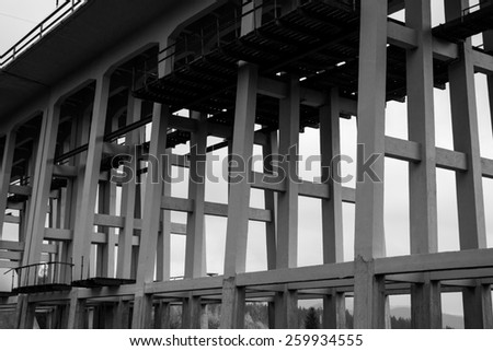 Detail of the Karako Viaduct in Harghita county, Romania. - stock photo