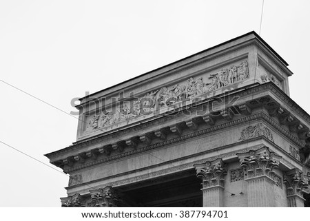 Detail of the Kazan Cathedral in St.Petersburg, Russia. Black and white. - stock photo