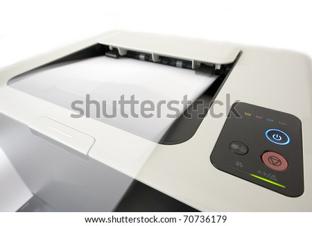 Detail of the laser printer in presses. On white background. - stock photo