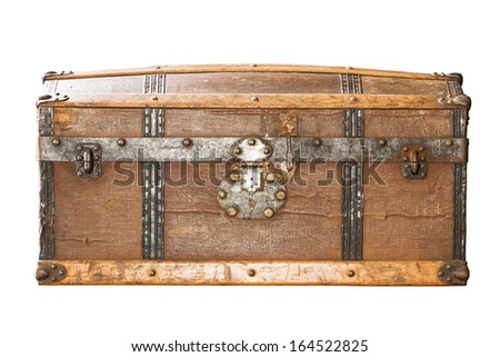 Detail of the lock of an old metal chest. - stock photo