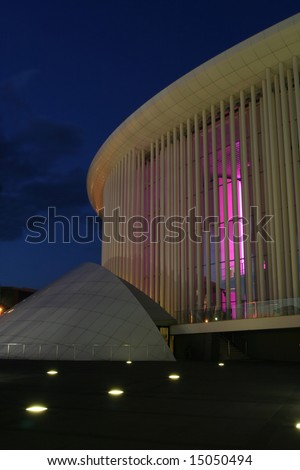 Detail of the Luxembourg philharmonic Orchestra building at night.