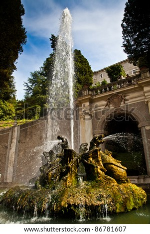 Detail of the luxury Villa d'Este in Tivoli, close to Rome - Italy