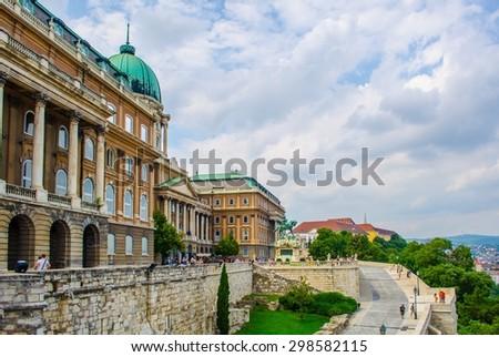 Detail of the main building of buda castle complex in hungarian capital budapest. - stock photo