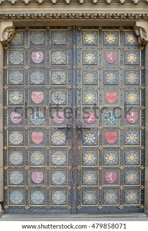 Detail of the main entrance door of gothic church of St. Peter and Paul on Vysehrad in Prague