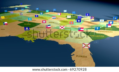 Detail Map United States All Stock Illustration - Us map with state flags