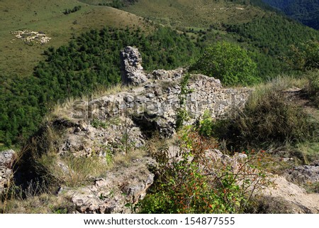 Detail of the medieval ruin of fortress of Liteni (Magyarleta) in Romania, Transylvania  - stock photo