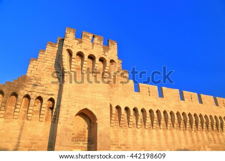Detail of the medieval wall surrounding the old town of Avignon, Provence, France - stock photo