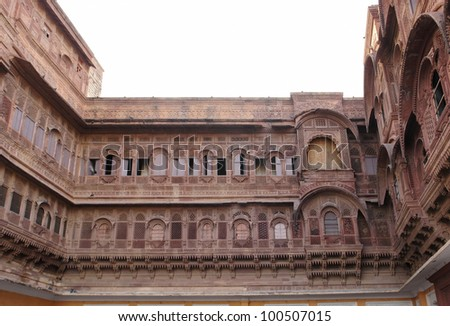 detail of the Mehrangarh Fort located in Jodhpur City in Rajasthan, India