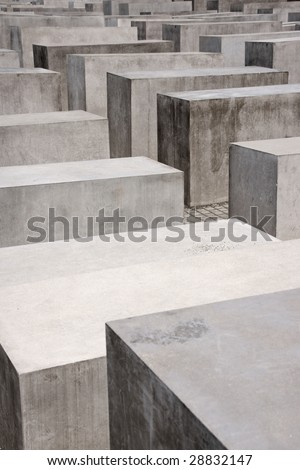 Detail of the Memorial for the murdered Jews of Europe by architect Peter Eisenman. This monument consists of 2711 concrete pillars - stock photo