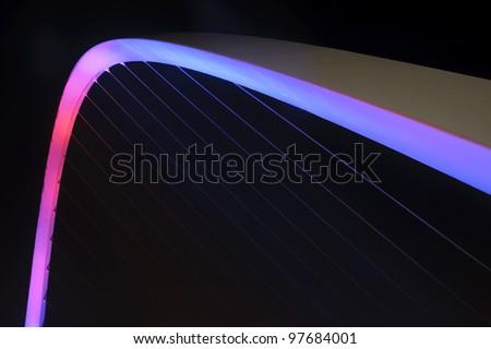 Detail of the Millenium Bridge across the River Tyne between Newcastle and Gateshead, England. - stock photo