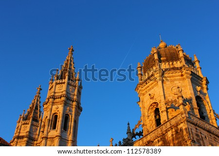 Detail of the monastery located at belem quarter in Lisbon - stock photo