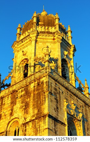 Detail of the monastery located at the Belem quarter in Lisbon - stock photo