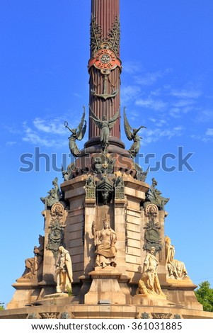 Detail of the monument dedicated to Christopher Columbus in Barcelona, Catalonia, Spain - stock photo
