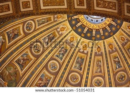 Detail of the mosaics of the Dome in St Peter Basilica, Vatican city, Rome - stock photo