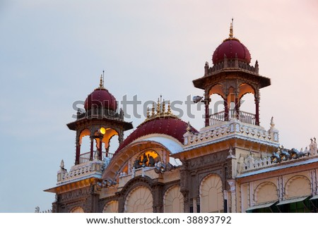 Detail of the Mysore Palace in India. - stock photo