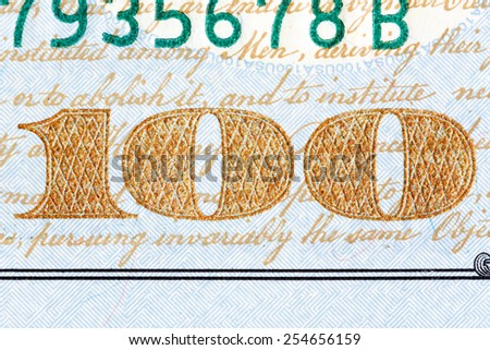 Detail of the newly design U.S. one hundred dollar bill. - stock photo