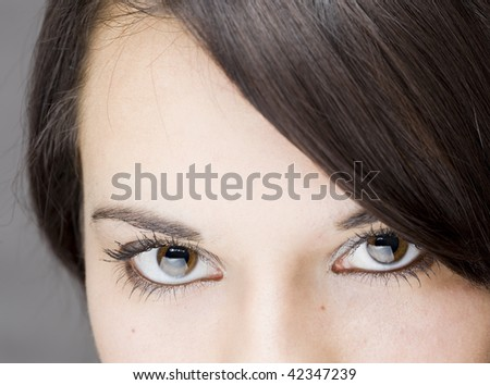 detail of the nice eyes of a gorgeous brunette young girl - stock photo