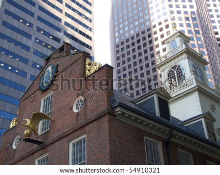 detail of the old Boston city hall - stock photo