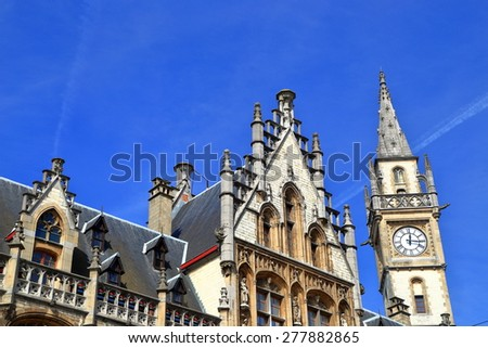 Detail of the old Post Office building with the clock tower, Ghent, Belgium - stock photo