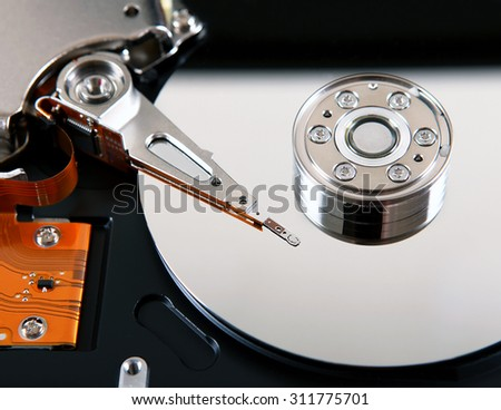 Detail of the Opened Hard Disk Drive