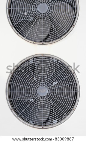 Detail of the outside unit of an air-conditioning machine - stock photo