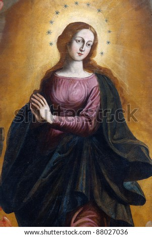 Detail of the painting of Our Lady Immaculate - Sicily - seventeenth century - stock photo