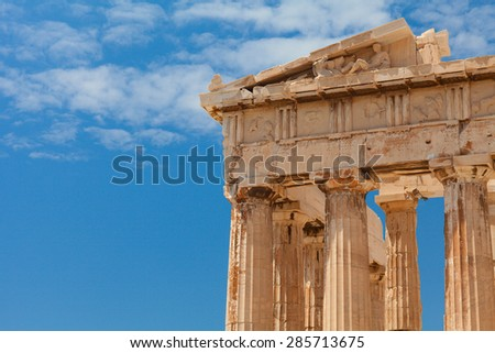 Detail of the Parthenon temple. Parthenon - is a former temple on the Athenian Acropolis, Greece, dedicated to the goddess Athena, whom the people of Athens considered their patron. Athens, Greece. - stock photo