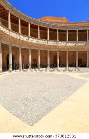 Detail of the Patio of Charles V Palace in Granada, Andalusia, Spain - stock photo
