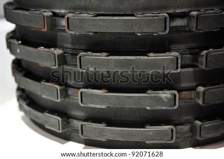 detail of the plane brake discs. - stock photo